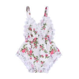 Wholesale Sweet Suits - Mikrdoo Fashion Newborn Kids Girls Clothes Suits Floral Back Cross Romper Outfits Lace V-Neck Strap Jumpsuit Cotton Flowers Sweet Playsuit