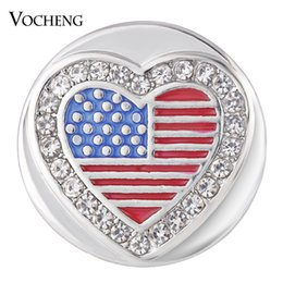 Wholesale Heart Hooks - VOCHENG NOOSA Ginger Snap Jewelry Heart USA with Crystal Button Charms 18mm Painted Design Vn-1740