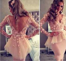 pear flower Promo Codes - Champagne Lace 3D Floral Long Sleeves V Neck V Back Knee Length Elegant Short Cocktail Party Dress Peplum Sheath Evening Gowns 2017