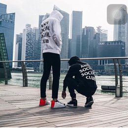 Wholesale Pullover Hoodie Wholesale - Fashion Kanye ANTI SOCIAL CLUB Brand Suprem Hoodie Fleece Hoodie Hip Hop Clothing Sweatshirts Casual Men Tracksuits Men's Hoodie Jacket 517