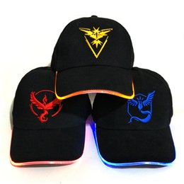 Wholesale Led Lights Different Colors - Pikachu LED Light Hat Party Hats Poke Boys and Grils Cap Baseball Caps Fashion Luminous Different Colors Adjustment Size for adult kid