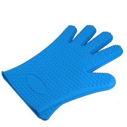 Wholesale Oven Mitt Gloves - Kitchen Heat Gloves Holder 5 Fingers Non-slip Barbecue Oven Mitts Resistant Gloves Pot Kitchen Tools BBQ Grilling Cooking Insulation Cook