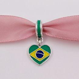 Bracelets de style drapeau en Ligne-925 perles en argent drapeau brésilien de coeur avec l'émail s'adapte au collier de bracelets de style européen Pandora pour la fabrication de bijoux