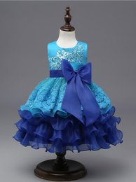 Wholesale Elegant Baby Bows - Formal Ball Gown Clothing Elegant Dresses for Girls Summer 2017 Princess Party Tutu Baby Dress Kids Clothes Blue Christmas Child
