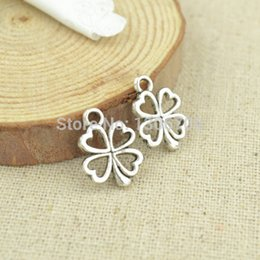 Wholesale Gold Metal Leaf Necklace - Wholesale-Hot 100pcs free shipping-metal tibetan silver charms four leaf clover diy pendants fit necklace&bracelets jewelry making 3034