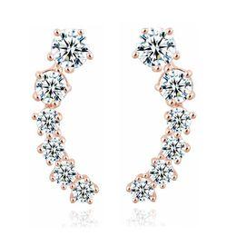 Wholesale White Gold Star Stud Earrings - Gold Silver Color Stars shape shining Crystal Earrings For Women Girl Stud Earrings Best Gift Jewelry HZ