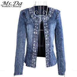 Wholesale Vintage Sequin Cardigan - Wholesale- 2016 Denim Jackets for Women New Diamonds Paillette Woman Coats Blaser Vintage Water-Wash Casual Lady Jeans Cardigan Blue