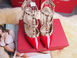 Wholesale Pointed Patent Heels - 2017 Designer women high heels party fashion rivets girls sexy pointed shoes Dance shoes wedding shoes Double straps sandals