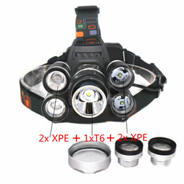 Wholesale Zoom Fishing - Rechargeable 18000lm 5 led Zoomable headlight ZOOM headlamp Hunting lamp fishing Bike light +Car AC  Charger