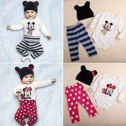 Wholesale Baby Minnie Mouse Romper - Wholesale- 2016 Baby Kids Romper Micky Mouse Minnie Cartoon Outfits 3pcs Tops+Pants+Hats