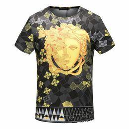 Wholesale Man Famous T Shirt - famous New Summer Cotton tshirt t-shirt designer tag grid medusa palace Harajuku Homme color print Men Brand casual cotton tee top M-3XL