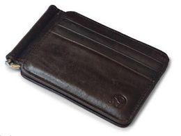 Wholesale Vintage Metal Wallet - wholesale new Thin Billfold Vintage Wallet Men Money Clips Genuine Leather Clamp Purse For Money Clip Metal Holder Cash Credit Card Pock