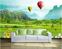 Wholesale Mountain Fabric - Fresh grass mountain hot air balloon 3D TV backdrop mural 3d wallpaper 3d wall papers for tv backdrop