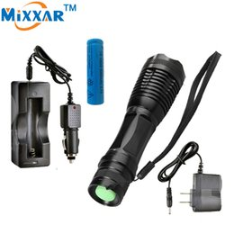 Wholesale Led Zoomable Waterproof Flashlight - CREE XM-L T6 Aluminum Torches 3000 Lumens LED Lantern Torch LED Flashlight High Power Focus Zoomable waterproof+1*Battery+2*Charger