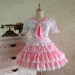 Wholesale Gothic Lolita Blue Dress - Free Shipping Custom 2015 Sweet &Retro Pink Sky Blue Short Sleeve Gothic lolita dresses