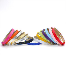 Wholesale Silver 8mm Letters - wholesale 100 strips 8mm wide   21cm length PU Leather snake skin wristband bracelet fit for 8mm diy slide charms