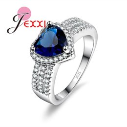 Wholesale Natural Blue Stone Rings - Wholesale- PATICO Fast Free Shipping Fashion Brand AAA+ Austrian Natural Blue Stone 925 Sterling Silver Rings Women Party Jewelry Gift