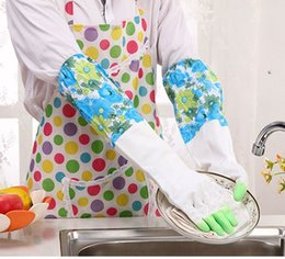 Wholesale Long Cleaning Gloves - Laundry Dish washing gloves Winter warm velvet gloves Household cleaning Waterproof flowers shark Long rubber glove Durable 2016 Home use