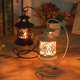 Wholesale Metal Wedding Candle Lanterns - 48pcs Wedding Festival small house wrought iron candlestick Creative european-style storm lantern home decor candle holders crafts ornament