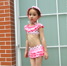 Wholesale Two Piece Swimsuit 4t - UPF50 Swimsuit Children Kids Dot Pattern Swimwear Girls Skirt Swimsuit With Swimming Cap Highly Elastic Swimwear