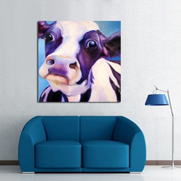 Wholesale Cute Animals Big Eyes - Big Eyes Cute Silly Cow,Hand-painted Modern Cartoon Animals Art Oil Painting,Home Wall Decor On High Quality Canvas in Multi sizes C016