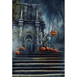 forest background backdrops Promo Codes - Mysterious Forest Vintage Castle Backdrop for Photography Stairs Pumpkin Faces Lantern Halloween Kids Backdrops Children Photo Background