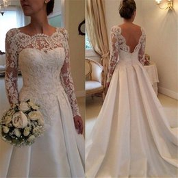 Wholesale Wedding Gowns Modest Neckline - 2016 modest Beach Plus Size Long Sleeve Wedding Dresses A Line Sheer Neckline Backless Lace Applique and Satin Bridal Gowns