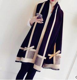 Argentina Otoño e invierno nueva bufanda de cachemira del bowknot coreano de doble cara cálida bufanda chal grueso invierno femenino Suministro