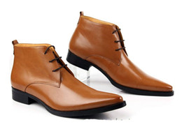 Wholesale Ankle Boots Mens Dress Shoes - Wholesale- Men's Shoes classic formal style oxfords boot men dress boots genuine leather mens pointed toe ankle boots size:38-45