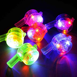 Wholesale Wholesale Led Whistles - Hot 6*3cm multi color LED flashing whistle blinking Bar whistle light kids toys for party favors fast shipping F2017743