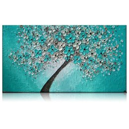 Wholesale Textured Tree Paintings - KGTECH Thick Textured Teal Green Floral Tree Acrylic Handpainted Wall Art For Living Room Office No Frame 20x40inch