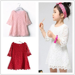 Wholesale White Lace Boat Neck Dress - New Fashion Kids Beautiful Girls Baby Lace Princess Party Dresses Solid Party Brief Casual Dress Child Clothes Sleeve Lace skirt XT