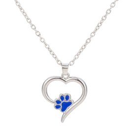 Wholesale Paw Rhinestone Pendant - Fashion Special Design Love shape Cute Puppy Kitty Paw Print Black and blue Enamel Necklace Zinc Alloy Sliver Color Jewelry