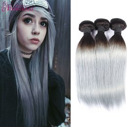Wholesale Beautiful Weave - Beautiful Girl Brazilian Grey Ombre Two Tone Human Hair 3 Bundles Virgin Hair Silver Grey Weave Ombre Human Hair 1B Grey Straight