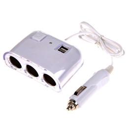 2019 гнездо для зарядки 12v usb Оптовая продажа-12V-24V 3 Way Multi Socket автомобильное зарядное устройство автомобиля авто Автомобиль прикуривателя Разветвитель Dual USB порты Plug адаптер дешево гнездо для зарядки 12v usb