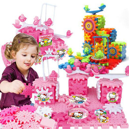 Wholesale Building Electric - 81 Pcs Lot Blocks Snowflake Gear Flakes Creative Plastic Set Hello Kitty Building Blocks Children Festival Gift Toys Interlocking Toys