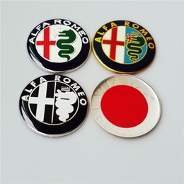 Wholesale Carbon Fiber Vinyl Wholesale - 20 pcs 74mm Alfa Remeo emblem sticker emblem badges car styling multicolor