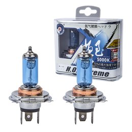 Wholesale Hid H4 Bulb - 2x100W H4 9003 Car Halogen Fog Light HeadLight DRL HOD Lamp Xenon white 5000K Dark Blue Glass Replacement Bulb Car Light Source
