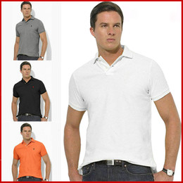 Wholesale Embroidery Polos - Top sale Plus size S~6XL Man's Solid Polo Shirt Camisa Polo embroidery small Horse Polo Shirts man polyester Men Short Sleeve Casual Shirts