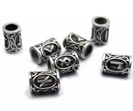 Wholesale Pendant Bracelet Dhl - Trendy Alloy 24pcs lot Different Viking Rune Beard Spacer Beads Charms Bracelets For Women Men Necklace Pendant Findings Free DHL D344S
