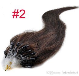 Wholesale Brown Micro Bead Hair Extensions - #2 Silicone Loop Micro Ring Beads Human Hair Extensions Indian Remy Straight Hair Black Blonde Brown Color 18-20 inch