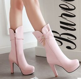 Wholesale Cheap Black Stiletto Boots - Brown Black White Pink New Arrival Hot Sale Specials Super Fashion Influx Warm Bow Tassels Winter Cheap Platform Noble Heels Boots EU34-43