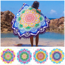 Wholesale Hand Wash Sale - Beach Towel Vintage Lotus Print Round 150cm Bath Towels Tassel Luxury Rug Fashion Polyester Carpets Hot Sale New