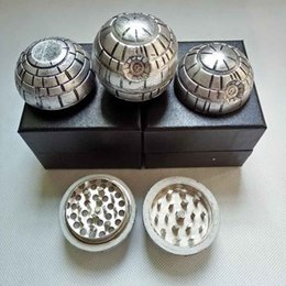Wholesale Death Stars - 3 layers Death Star Wars Grinders Diameter 55mm Zinc Alloy Metal Herbal Grinder Round Ball Tobacco Muller with gift box