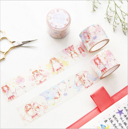 Wholesale Diary Stories - Wholesale- 2016 35mm Wide Cartoon Pet Girl Happy Life story Washi Tape DIY Diary Decoration Planner Hand Scrapbook Sticker Label Masking T