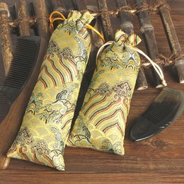 Wholesale Silk Cloth Drawstring Bags - 2 size Lengthen ripple Cloth Bag Drawstring Silk Brocade Jewelry Necklace Gift Packaging Pouch Ox Horns Comb Trinket Storage bags