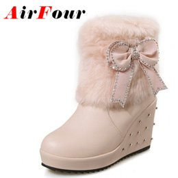 Wholesale Pink Wedges Bow - Wholesale-Airfour Brown Black Pink White Fur Boots Women Wedges Heel Rhinestone Slip-On Boots Bow Lady Shoes Woman Fashion Big Size 34-43