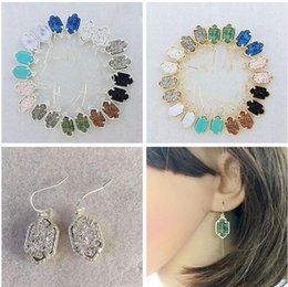 Wholesale Wholesale Druzy Earrings - Natural Stone druzy drusy Dangle Earrings Jewelry for Women Gold silver Plated Hexagon Druzy Stone Chandelier Earrings 10 Colors