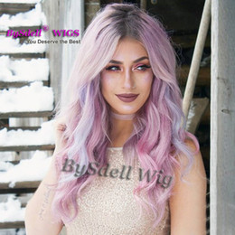 Wholesale Hair Front Highlights - Luxury Heat Resistant Wig Sexy Celebrity Loose Wave Hairsty Wig Pastel Purple Taro Highlight Lake Blue Color Hair None Lace  Lace Front Wigs