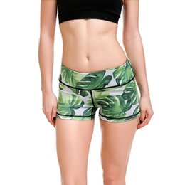 Wholesale Green Dance Shorts - Wholesale- LOVE SPARK 2017 Green Leaf Women's Sport Shorts Workout S To 4xL Girls Gym Dance Jogging Running Sport Shorts